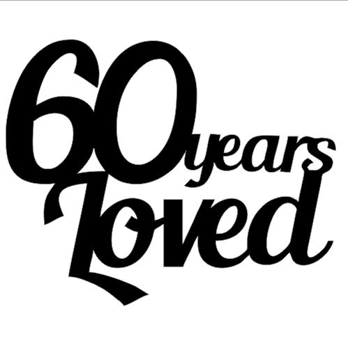 60 YEARS LOVED Pack of 5 50 x 50 mm Min 1 pack also available in